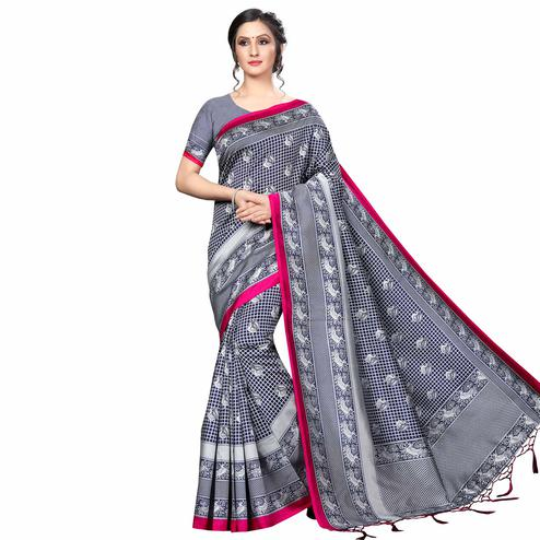 Exceptional Gray Colored Festive Wear Banarasi Art Silk Saree