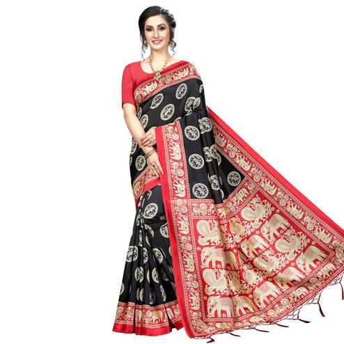 Demanding Black Colored Festive Wear Banarasi Art Silk Saree