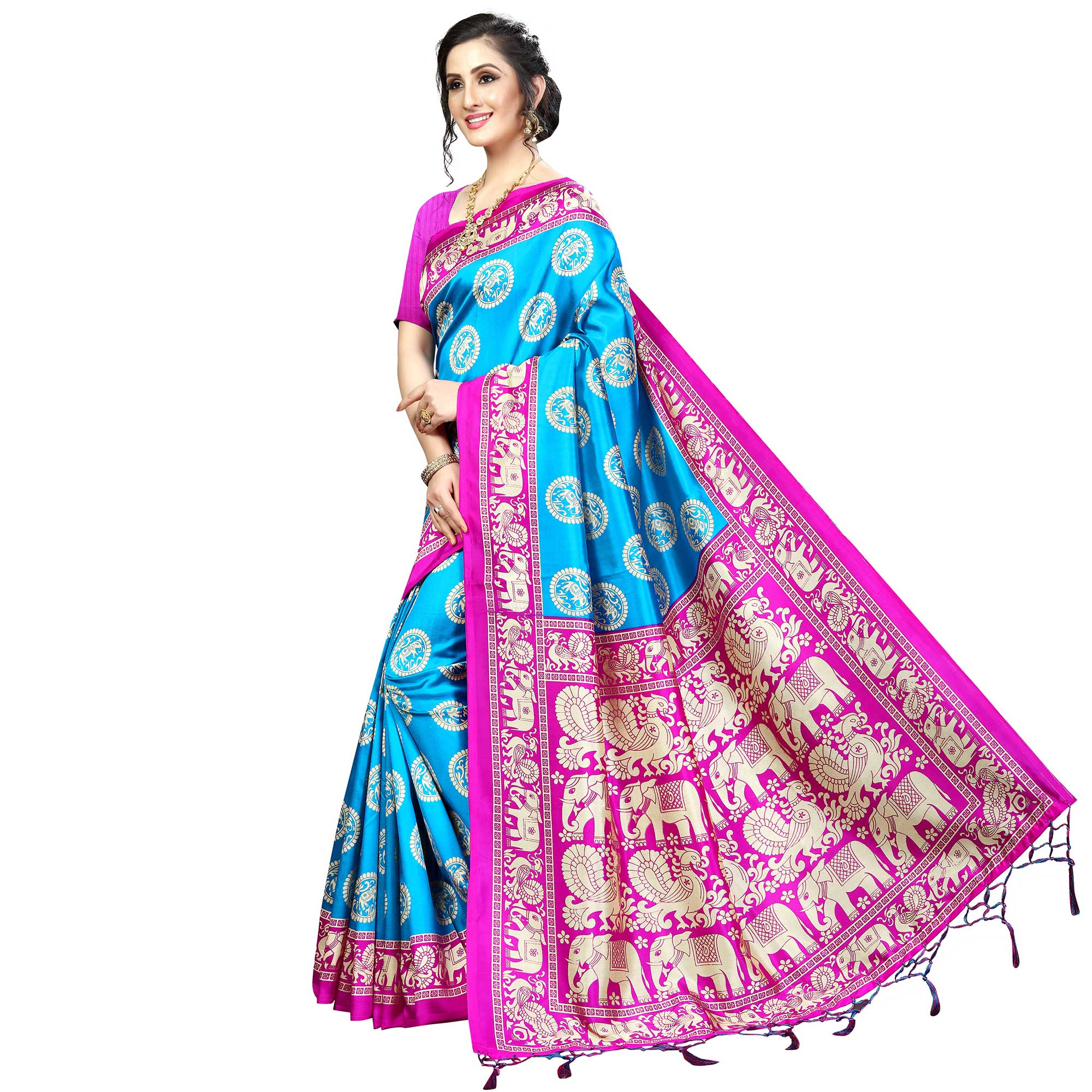 Refreshing Sky Blue Colored Festive Wear Banarasi Art Silk Saree