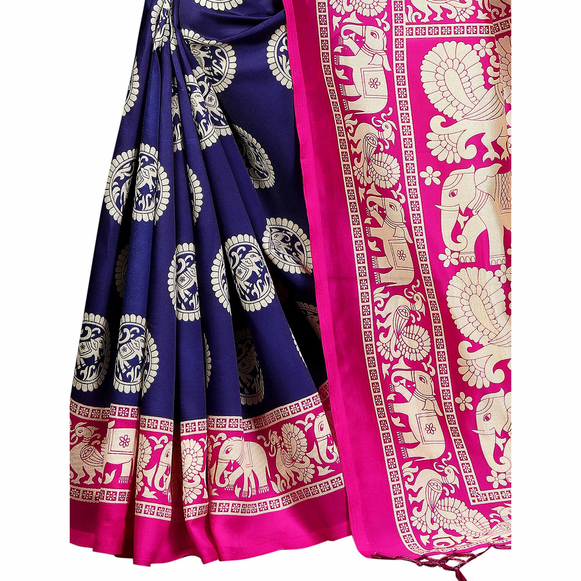 Magnetic Navy Blue Colored Festive Wear Banarasi Art Silk Saree
