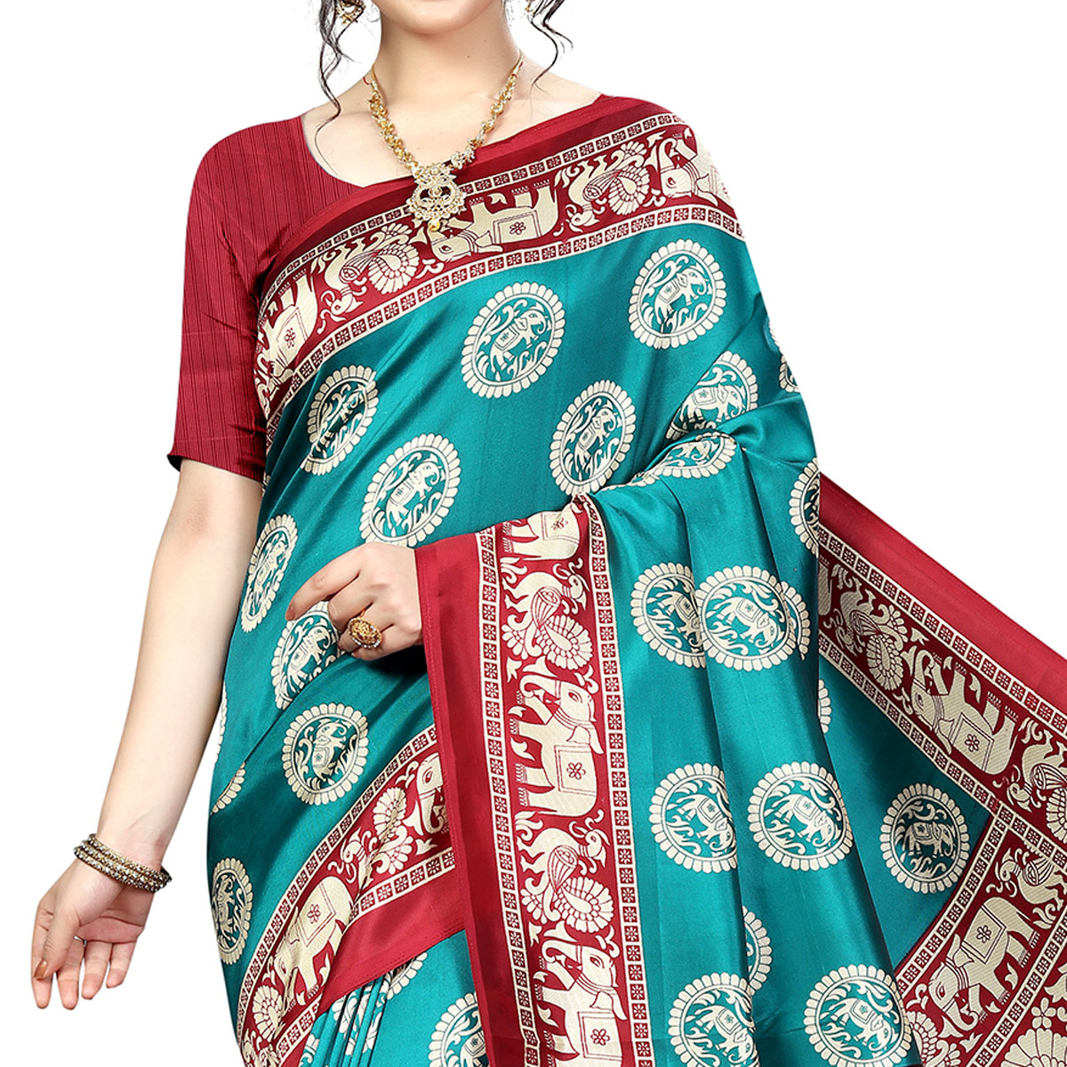 Hypnotic Rama Blue Colored Festive Wear Banarasi Art Silk Saree