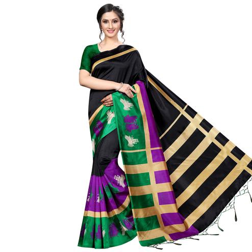 Flattering Black Colored Festive Wear Banarasi Art Silk Saree