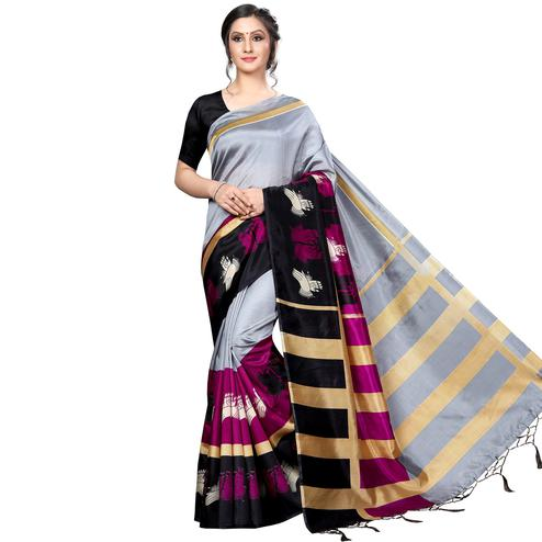 Preferable Gray Colored Festive Wear Banarasi Art Silk Saree