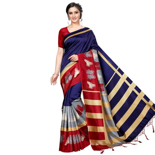 Marvellous Navy Blue Colored Festive Wear Banarasi Art Silk Saree