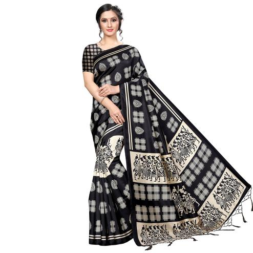 Flaunt Black Colored Festive Wear Banarasi Art Silk Saree