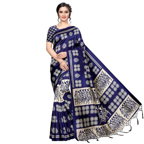 Stunning Navy Blue Colored Festive Wear Banarasi Art Silk Saree