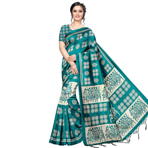 Flirty Rama Green Colored Festive Wear Banarasi Art Silk Saree