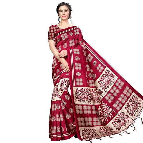 Fantastic Red Colored Festive Wear Banarasi Art Silk Saree