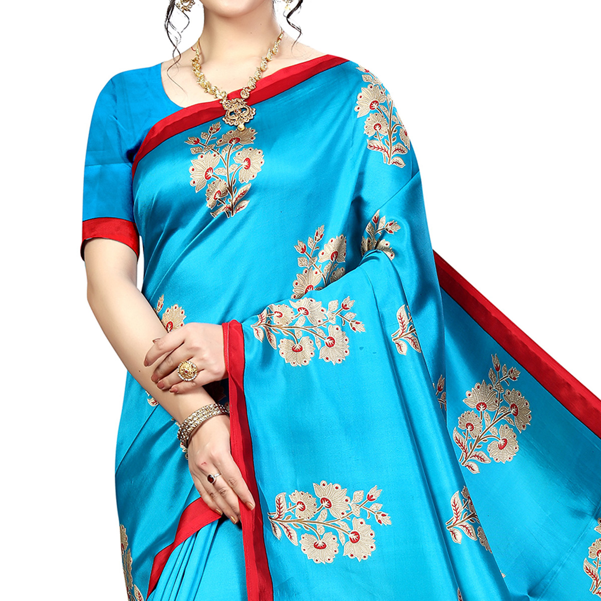 Amazing Sky Blue Colored Festive Wear Banarasi Art Silk Saree