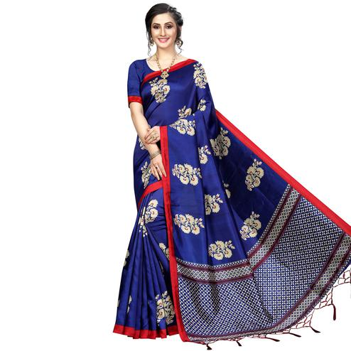 Gorgeous Navy Blue Colored Festive Wear Banarasi Art Silk Saree