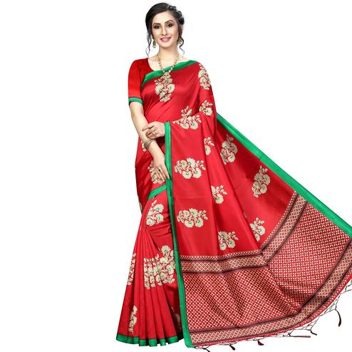 Blissful Red Colored Festive Wear Banarasi Art Silk Saree