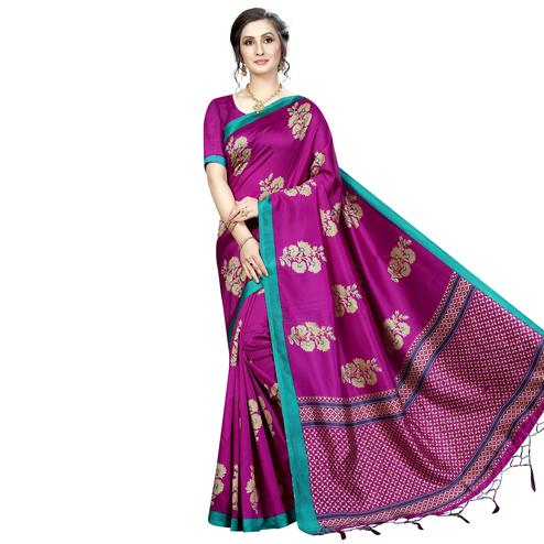 Ideal Pink Colored Festive Wear Banarasi Art Silk Saree