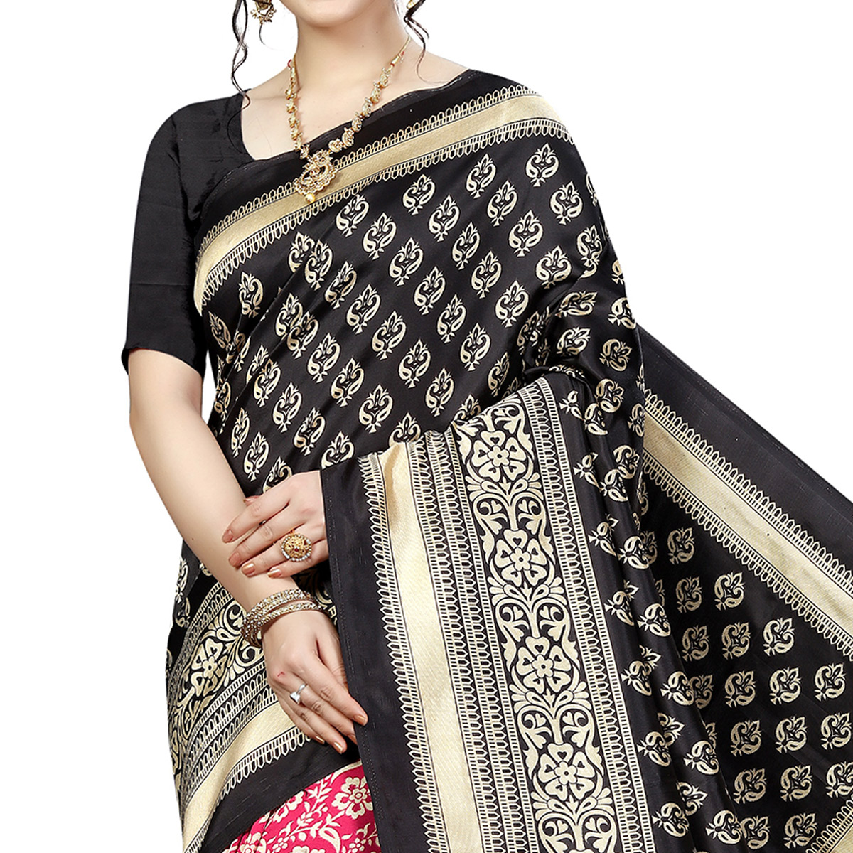 Ravishing Red-Black Colored Festive Wear Banarasi Art Silk Saree