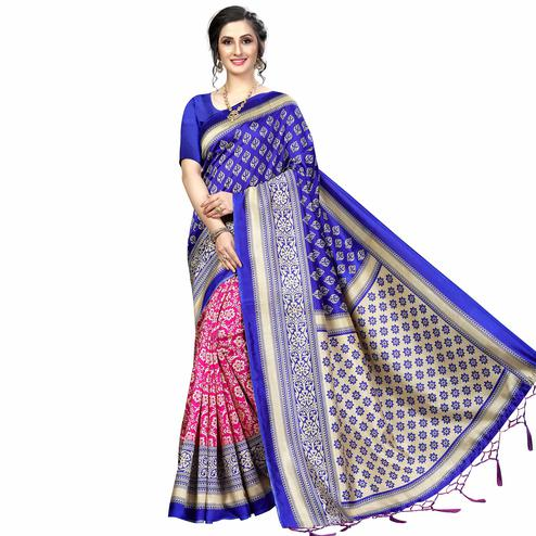 Staring Pink-Blue Colored Festive Wear Banarasi Art Silk Saree
