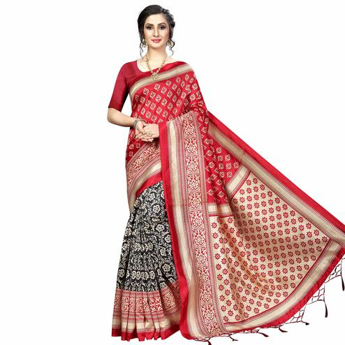 Dazzling Black-Red Colored Festive Wear Banarasi Art Silk Saree