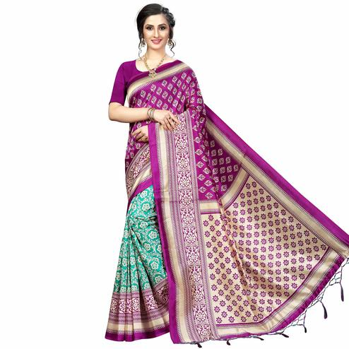 Surpassing Green-Magenta Pink Colored Festive Wear Banarasi Art Silk Saree
