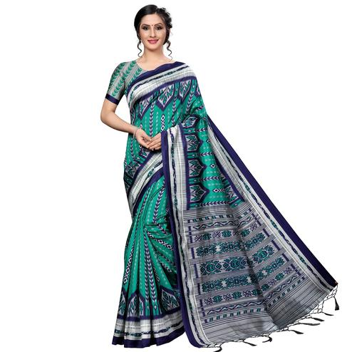 Classy Green Colored Festive Wear Banarasi Art Silk Saree