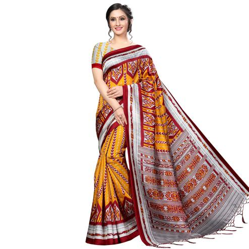 Adorning Orange Colored Festive Wear Banarasi Art Silk Saree