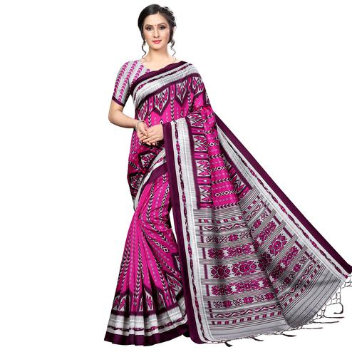 Capricious Pink Colored Festive Wear Banarasi Art Silk Saree