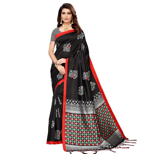 Entrancing Black Colored Festive Wear Banarasi Art Silk Saree