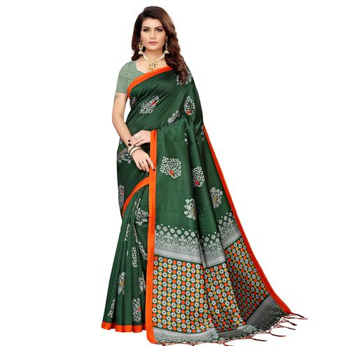 Groovy Green Colored Festive Wear Banarasi Art Silk Saree