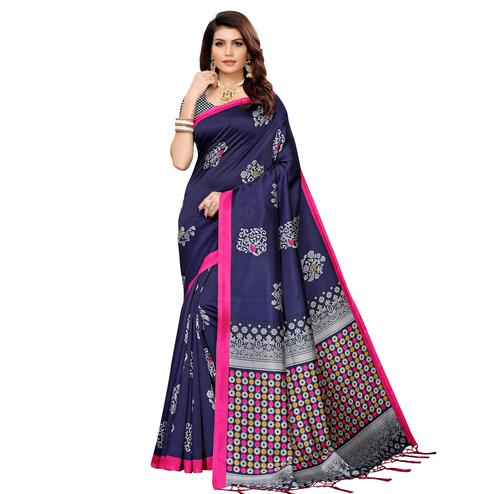 Prominent Navy Blue Colored Festive Wear Banarasi Art Silk Saree