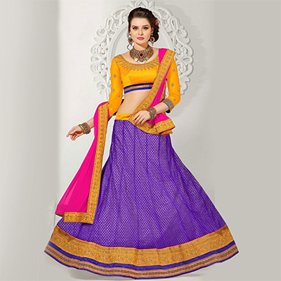 Purple - Yellow Embroidered & Patch Work Lehenga Choli