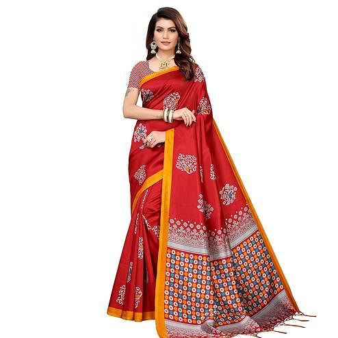 Elegant Red Colored Festive Wear Banarasi Art Silk Saree