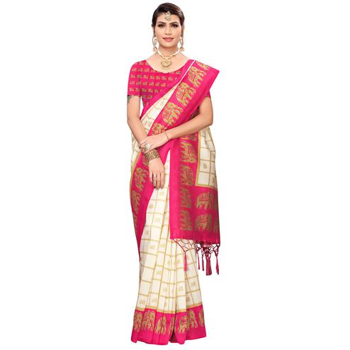 Intricate Off White-Pink Colored Festive Wear Printed Mysore Silk Saree