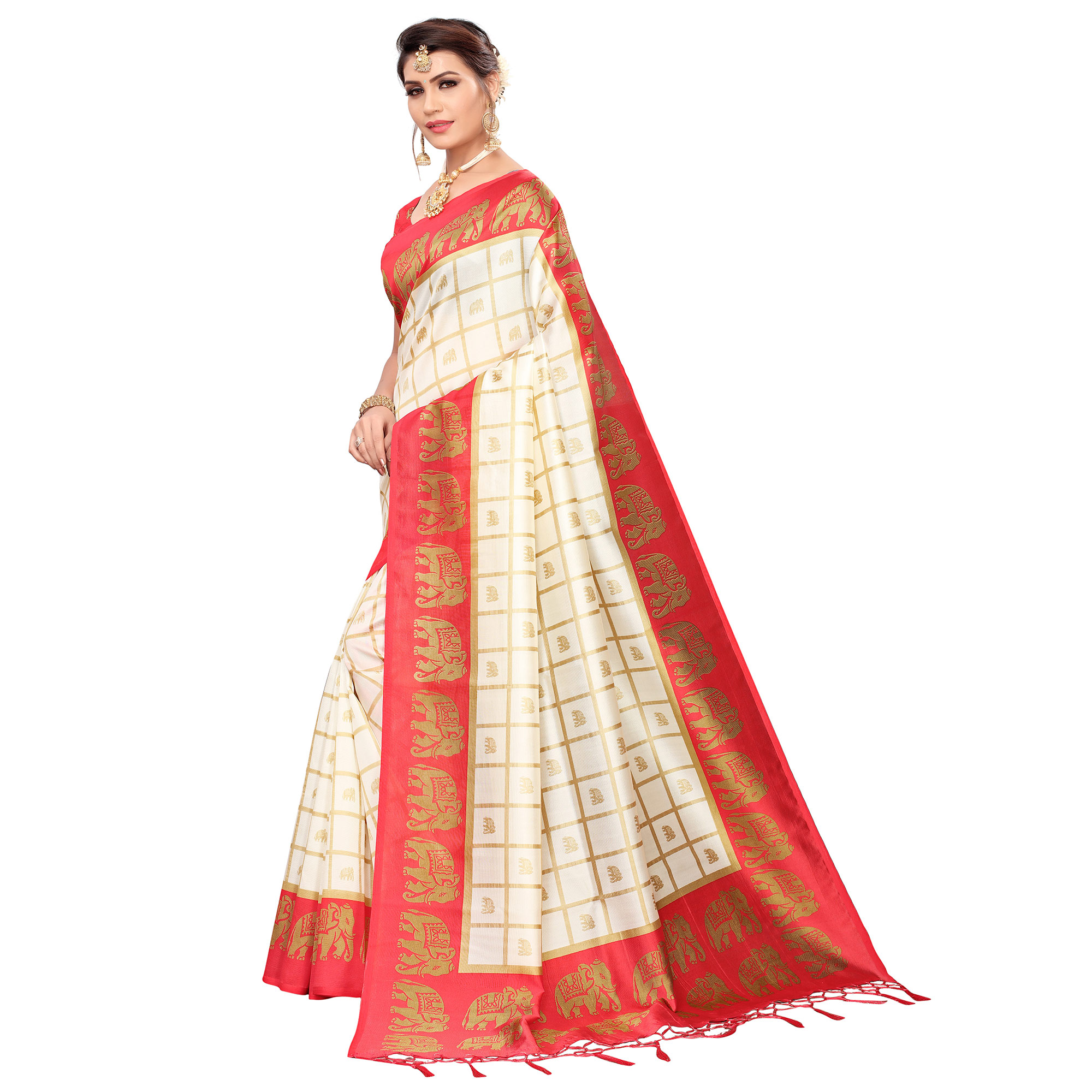 Arresting Off White-Red Colored Festive Wear Printed Mysore Silk Saree