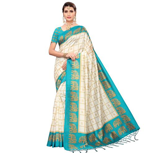 Desirable Off White-Turquoise Blue Colored Festive Wear Printed Mysore Silk Saree