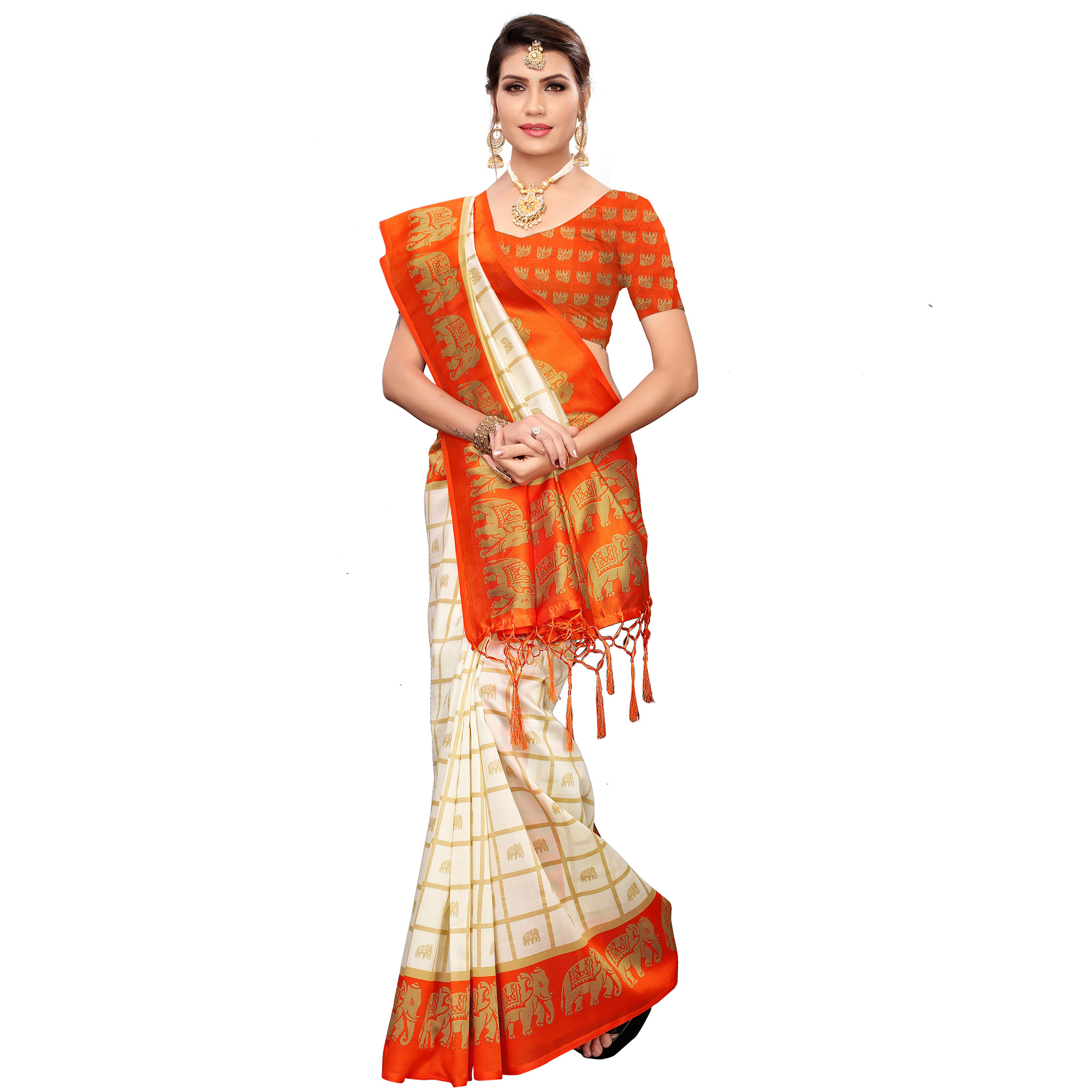 Exotic Off White-Orange Colored Festive Wear Printed Mysore Silk Saree