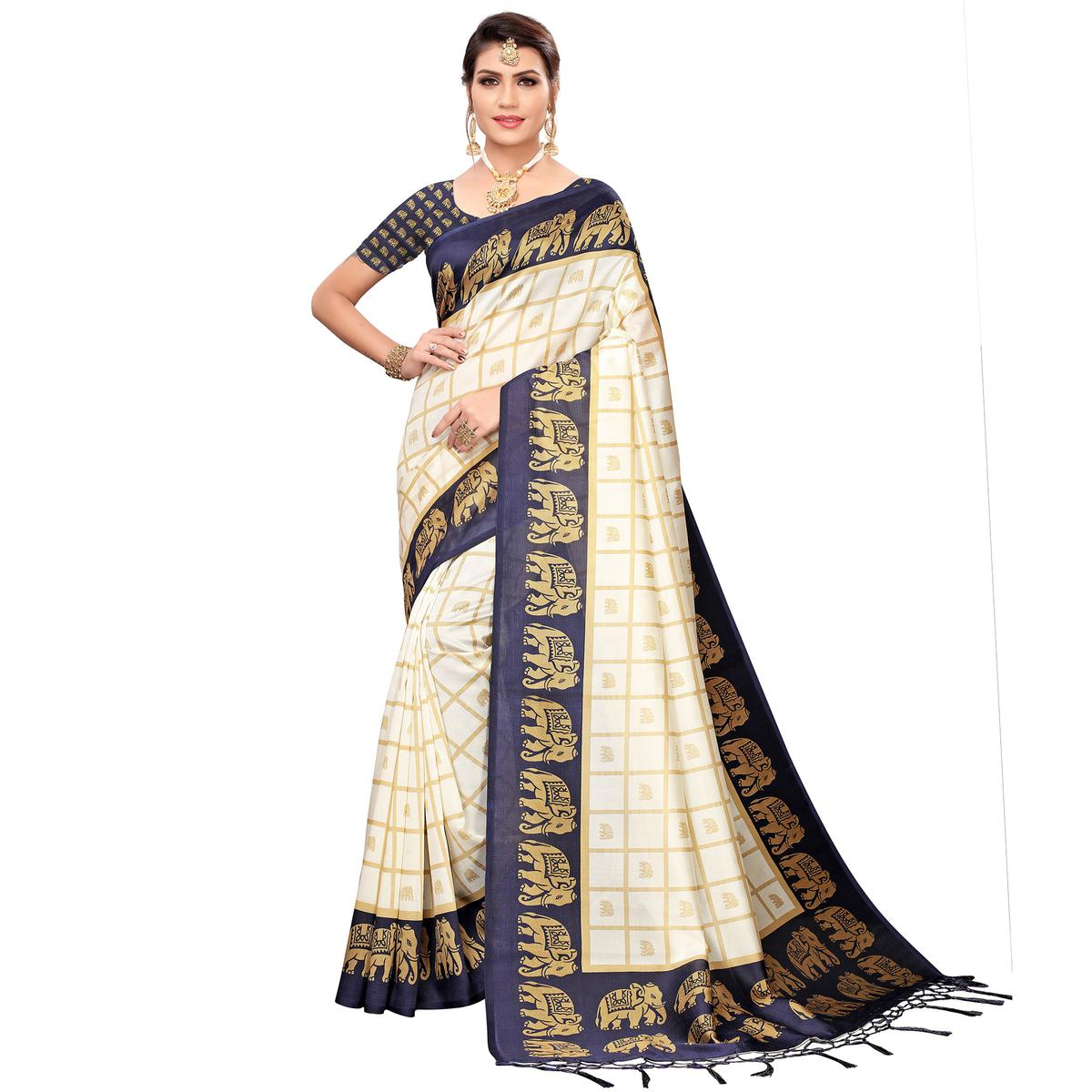 Sophisticated Off White-Navy Blue Colored Festive Wear Printed Mysore Silk Saree