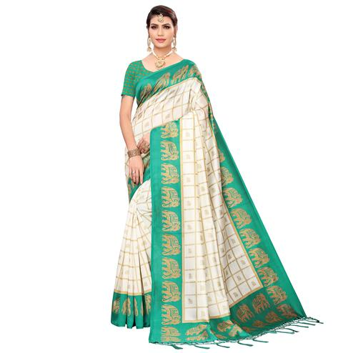 Trendy Off White-Green Colored Festive Wear Printed Mysore Silk Saree