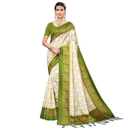 Elegant Off White-Olive Green Colored Festive Wear Printed Mysore Silk Saree