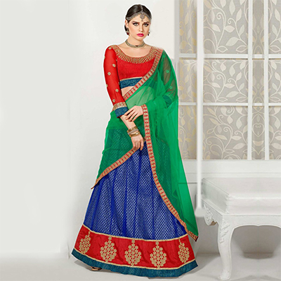 Blue - Red Embroidered Work Lehenga Choli