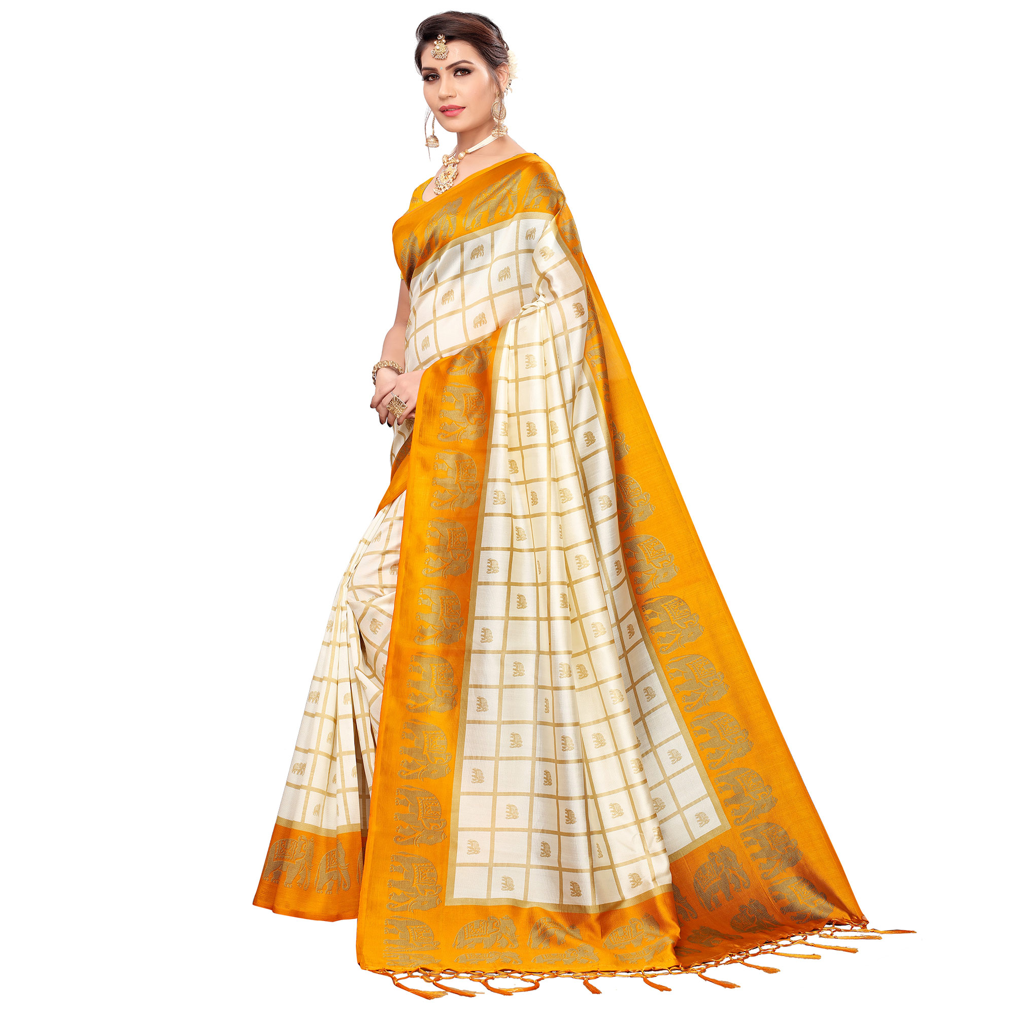 Radiant Off White-Yellow Colored Festive Wear Printed Mysore Silk Saree