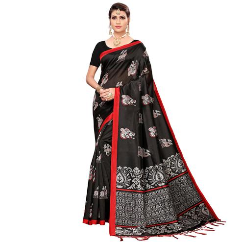 Pleasant Black Colored Festive Wear Printed Mysore Silk Saree
