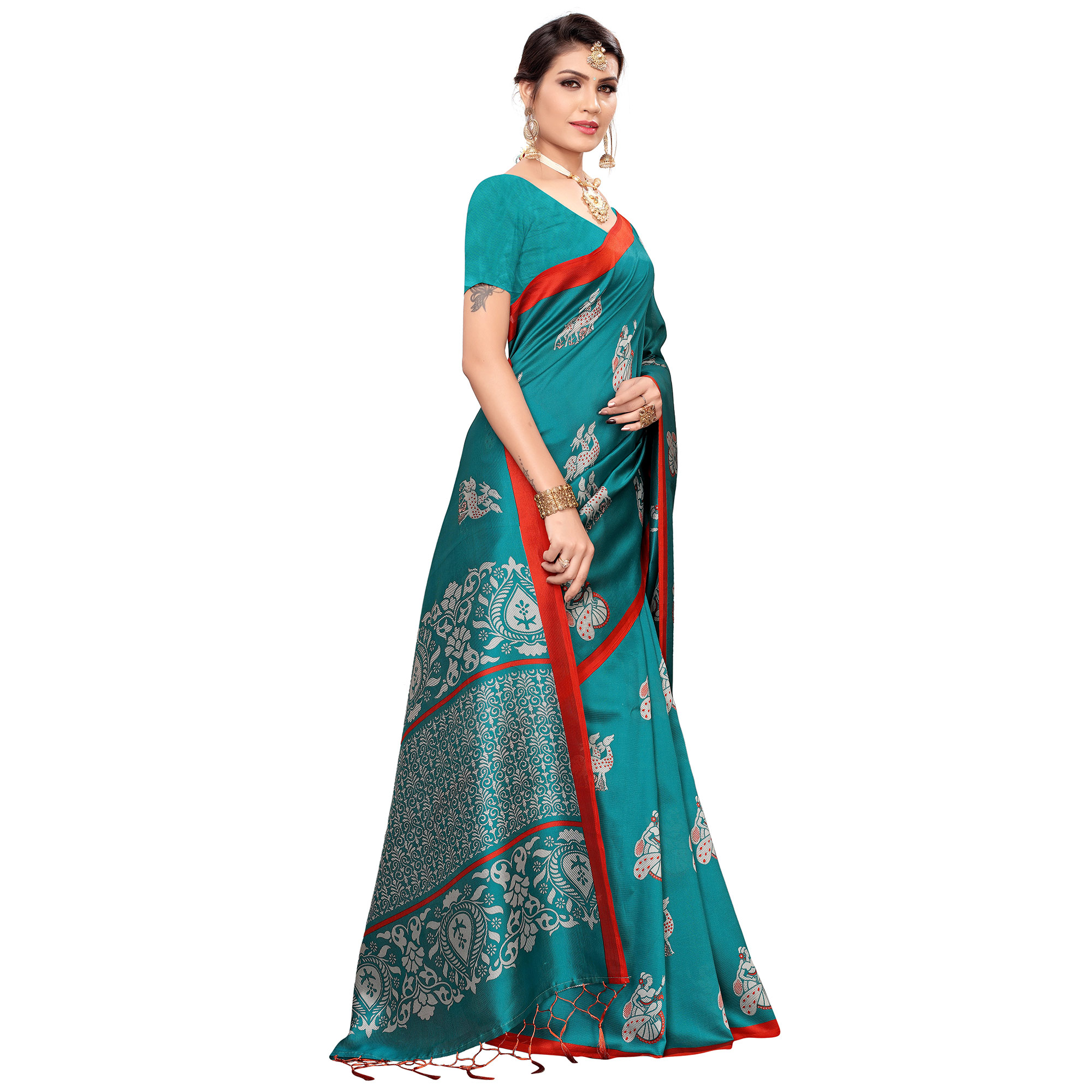 Opulent Turquoise Blue Colored Festive Wear Printed Mysore Silk Saree