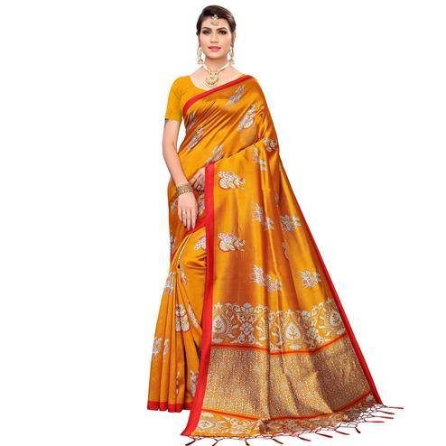 Energetic Orange Colored Festive Wear Printed Mysore Silk Saree