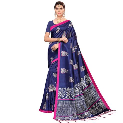 Glowing Navy Blue Colored Festive Wear Printed Mysore Silk Saree