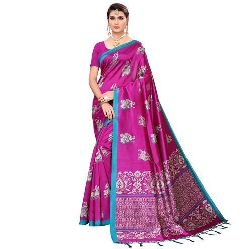 Gleaming Magenta Pink Colored Festive Wear Printed Mysore Silk Saree