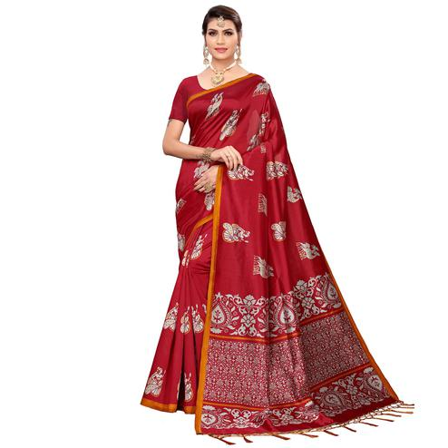 Exceptional Maroon Colored Festive Wear Printed Mysore Silk Saree