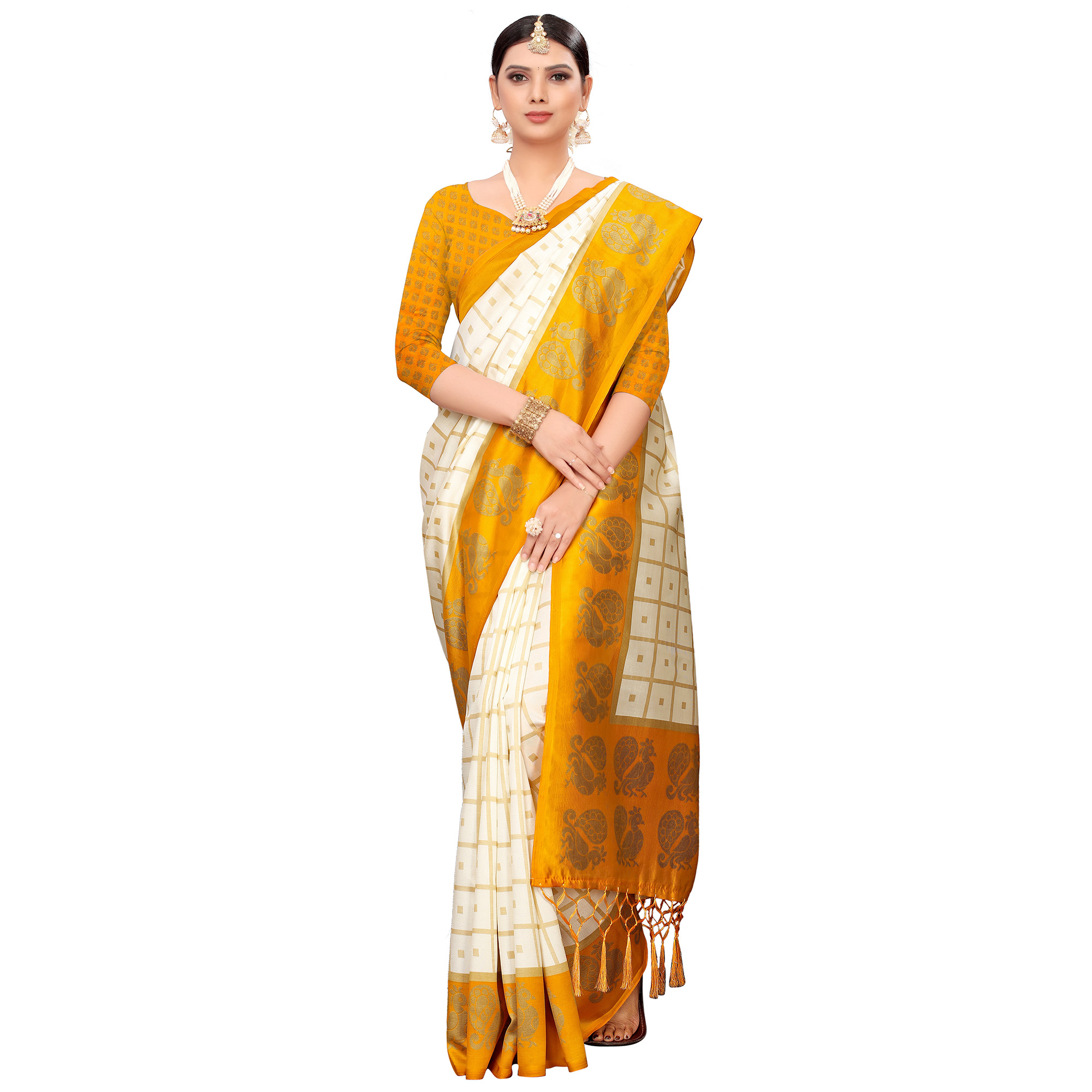 Magnetic Off White-Yellow Colored Festive Wear Printed Mysore Silk Saree