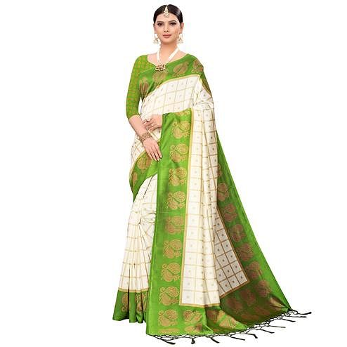 Hypnotic Off White-Green Colored Festive Wear Printed Mysore Silk Saree