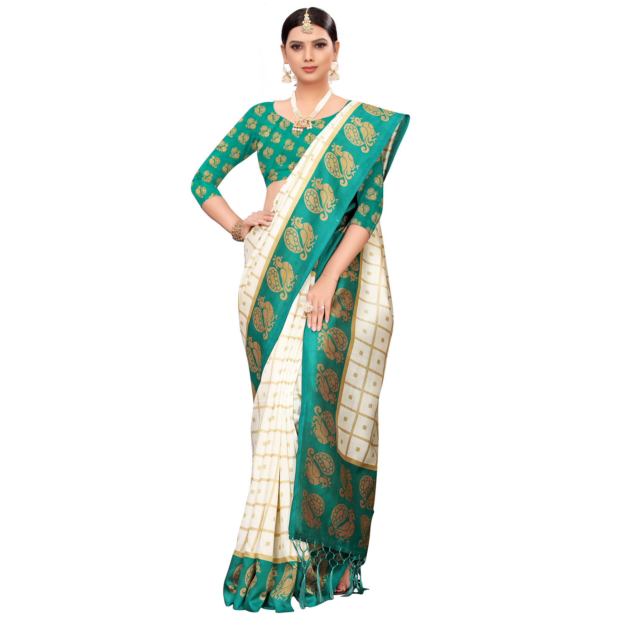 Flattering Off White-Turquoise Green Colored Festive Wear Printed Mysore Silk Saree