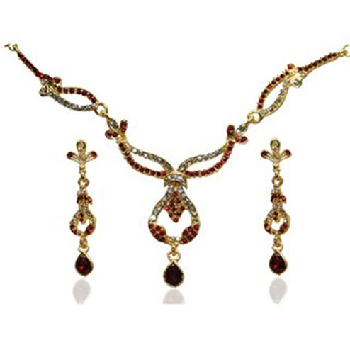 Red Austrian Stone Gold Plated Necklace Set