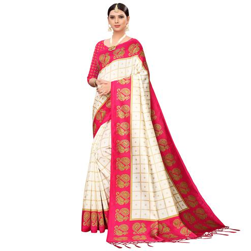Excellent Off White-Pink Colored Festive Wear Printed Mysore Silk Saree