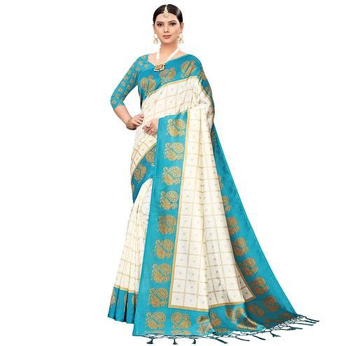 Preferable Off White-Turquoise Blue Colored Festive Wear Printed Mysore Silk Saree