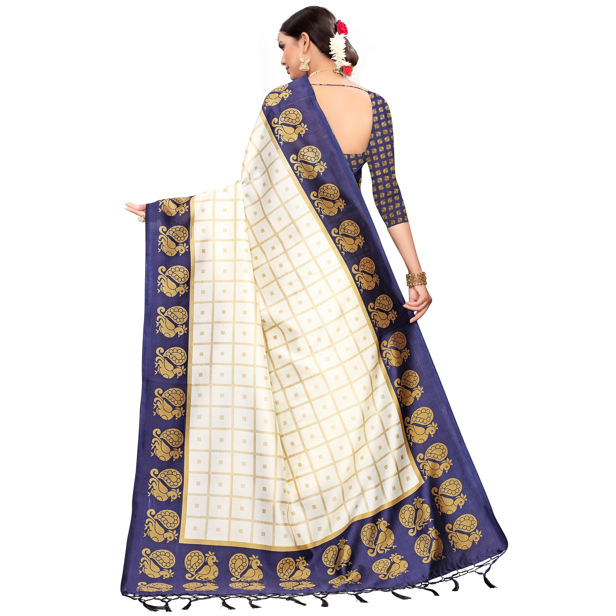 Marvellous Off White-Navy Blue Colored Festive Wear Printed Mysore Silk Saree